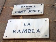 Marble La Rambla Street Sign, Barcelona Stock Images