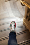 Marble ladder and leg Royalty Free Stock Photos