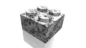 Marble lego block (3D) Royalty Free Stock Photos