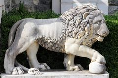 Marble lion with a ball - ancient sculpture in the park of Peles Castle, Sinaia, Romania stock photos