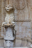 Marble lion in the cloister of Jeronimos Monastery in Lisbon, Portugal Royalty Free Stock Photography