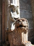 Marble lion in front of the cathedral of Ferrara, Italy. Marble lion in front of the cathedral of Ferrara stock image