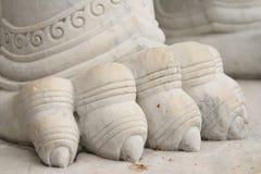Marble lion guarding entrance (Wat Benchamabophit Dusitvanaram) Royalty Free Stock Images