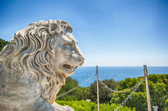 Marble lion statue of Vorontsov palace in Crimea Russian Federation. Marble lion statue in front of facade of Vorontsov palace in Crimea Russian Federation stock photography