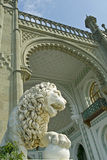 Marble lion - Vorontsov Palace, Crimea. Marble lion sculpture of Vorontsov Palace - Alupka, Crimea. Southern terrace royalty free stock photos