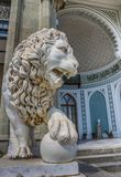 Marble lion at the Vorontsov Palace near Alupka. Ukraine royalty free stock images