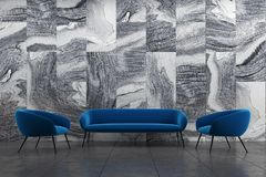 Marble living room, blue sofa, armchairs. Marble living room interior with a blue sofa and two armchairs on a black tiled floor. 3d rendering mock up Royalty Free Stock Photos