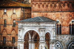 Marble Loggia of Torre del Mangia in Siena Royalty Free Stock Image