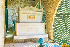 The marble mausoleum. The old mausoleum in the building of the ancient mosque of Umm Haram, Larnaca, Cyprus Royalty Free Stock Image