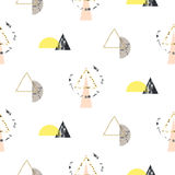 Marble memphis retro 80s seamless vector pattern. Abstract color blocks and elements in eighties fashion style. Geometry triangles on white with geo semisphere Stock Image
