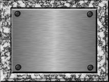 Marble metal plate a. Marble bevel slab and metal plate with screws Stock Photos