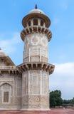 Marble minaret of Agra's Baby Taj mausoleum in India. Royalty Free Stock Photography