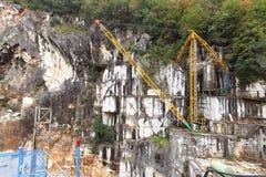 Marble mine in rainy season in Carrara, Italy Stock Photography