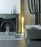 Marble modern interior. Modern interior with classical marble fireplace Royalty Free Stock Photos