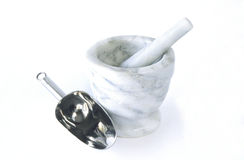 Marble mortar and pestle with floor scoop. Stock Images