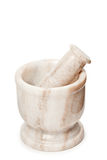 Marble mortar and pestle on white Stock Photos