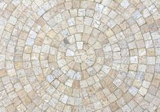 Marble mosaic background. Natural marble cubes in light shades laid in circles Stock Photo