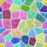 Marble mosaic pattern seamless background with light gray grout - pastel full color spectrum. Surface floor marble mosaic pattern seamless background with light Royalty Free Stock Photography