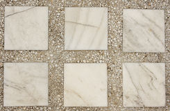 Marble and mosaic texture. White marble and brown mosaic texture royalty free stock photo