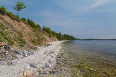 Marble Mountain Cape Breton. Marble Mountain Beach in Cape Breton Island during the day. There is space for text Royalty Free Stock Image