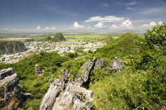 Marble Mountains. View of surrounding Vietnam countryside from the Marble Mountains near Danang Stock Images