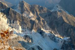 The Marble mountains in Italy stock photography