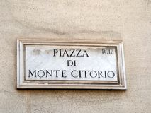 Marble Name Plaque, Piazza di Monte Citorio, Rome, Italy Royalty Free Stock Photography