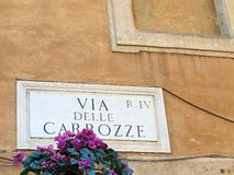 Marble Name Plaque, Via della Carrozzei, Rome, Italy Royalty Free Stock Photo
