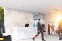 Marble office, reception, people Royalty Free Stock Images
