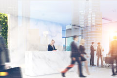 Marble office, reception, people, double Royalty Free Stock Images