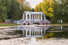 Marble ( Palladian) bridge in the Catherine Park of Tsarskoye Se Stock Photography
