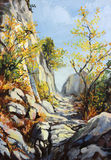 Marble path in the Autumn. An oil painting on canvas of a bright sunny marble path high in the mountain with colorful autumn trees Stock Photo