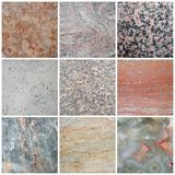 Marble picture collage with different textures. Various types of marble textures royalty free stock image