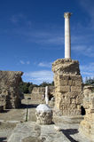 Marble pillar and blue sky in Carthage, Tunisia Royalty Free Stock Image