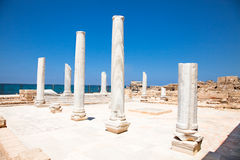 Marble pillars in Caesarea. Israel. Royalty Free Stock Photo