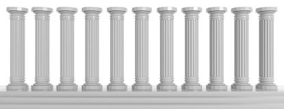 Marble pillars on white background. 3d illustration. Marble classical pillars row on white, background. 3d illustration Royalty Free Stock Image