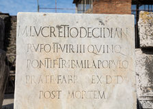 Marble Plaque Post Mortem in Pompeii Royalty Free Stock Images