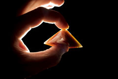 Marble pyramid. Energy of smooth polished marble pyramid royalty free stock photos