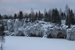 Marble quarry. The abandoned marble quarry in the winter Royalty Free Stock Photography