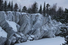 Marble quarry. The abandoned marble quarry in the winter Royalty Free Stock Image