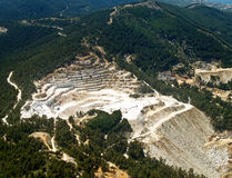 Marble quarry, aerial view. Marble quarry, Thassos island, aerial view royalty free stock photography