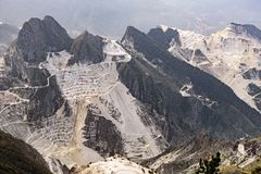 Marble quarry in the Apuan Alps royalty free stock images