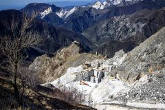 Marble quarry in Carrara italy. The quarries are places where excavation and marble processing takes place for many centuries. For the way in which marble is royalty free stock photos