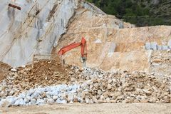 Marble quarry. Of Carrara, Italy. Stoneworking industry stock image