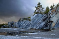 Marble quarry. Cut stone in a marble quarry Stock Photo