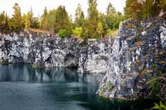 Marble quarry flooded in past in Karelia Stock Photos