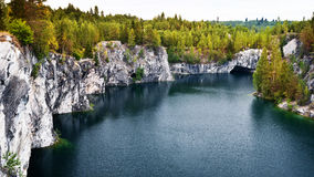 Marble quarry flooded in past in Karelia Royalty Free Stock Photography