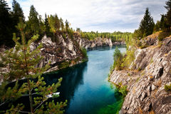 Marble quarry flooded in past in Karelia Stock Photography