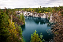 Marble quarry flooded in past in Karelia Stock Photo