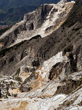 Marble quarry with hairpin bends mountain roads - Italy industry. Dramatic roads down the mountainside. Near Fantiscritti stock images